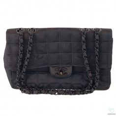 5c56365611b7 Chanel Black Monogram Quilted Canvas Chain Link Strap Handbag  biltmorelux.com Designer Handbag Brands,