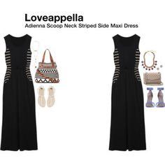 Adienna Scoop Neck Striped Side Maxi Dress