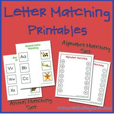 2 Letter Matching Printable Sets - Animal Sound Matching and Alphabet Letter Matching!  Have your child practice matching their Letter Names to letter Sounds, as well as matching their Uppercase Letters to their Lowercase Letters!