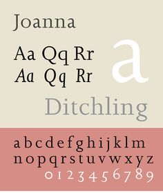 Joanna – a serif typeface designed by Eric Gill (1882–1940).