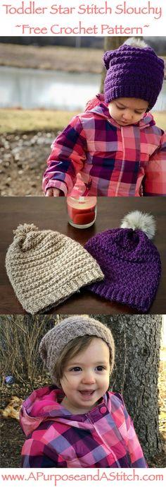 Toddler Star Stitch Slouchy- Free crochet pattern #CrochetGifts