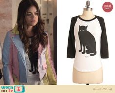 Aria's cat tee on Pretty Little Liars. Outfit Details: http://wornontv.net/23443 #PrettyLittleLiars #fashion #PLL