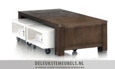 Salontafel Cataluna inclusief trolleys van het merk Henders & Hazel. Mooie salontafel in de kleur Lava in combinatie met twee hoogglans witte trolleys, helemaal hip! De trolleys hebben wieltjes zodat je ze makkelijk kunt verplaatsen, bovendien kan je de salontafel groter maken door ze iets uit te schuiven. Snel leverbaar! http://www.deleukstemeubels.nl/nl/cataluna-salontafel-set/g6/p297/