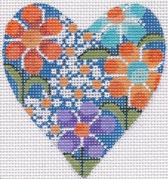 Pretty Spring Heart Hand Painted Needlepoint Canvas