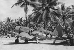 F4U-1 Corsair fighter of VMF-214 parked at Turtle Bay airfield on Espiritu