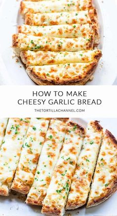 Cheesy garlic bread made with garlic butter, parmesan and mozzarella 🍴. Visit thetortillachanne… for the full recipe 🍞 - Easy Cheesy Garlic Bread [the best bread] - The Tortilla Channel Vegetarian Recipes, Healthy Recipes, Garlic Recipes, Easy Food Recipes, Healthy Snacks Savory, Italian Food Recipes, Healthy Lunch Wraps, Vegetarian Dinners, Kraft Recipes