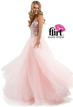 Flirt Prom's tulle ballgown with rectangle paillette bodice and half corset closure. View the dress!