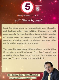 #Numerology‬ predictions for 30th March'16 by Dr.Sanjay Sethi-Gold Medalist and World's No.1 #AstroNumerologist.
