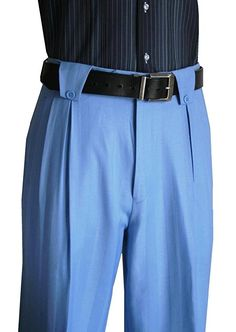 1930s Style Men's Pants 100 % Wool Wide Leg Mens Pants Lined to the knee Powder Blue $99.00 AT vintagedancer.com