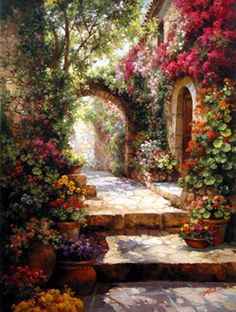 painting by Paul Guy Gantner Beautiful Paintings, Beautiful Landscapes, Beautiful Gardens, Landscape Art, Landscape Paintings, Garden Painting, Fine Art, Painting Inspiration, Amazing Art
