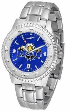 Morehead State University Men's Stainless Steel Dress Watch by SunTime. $88.95. Stainless Steel. Links Make Watch Adjustable. AnoChrome Dial Enhances Team Logo And Overall Look. Officially Licensed Morehead State Eagles Men's Stainless Steel Dress Watch. Men. Morehead State Eagles men's stainless steel watch. College dress watch with rotating bezel color-coordinated to compliment your favorite team logo. The Competitor Steel utilizes an attractive and secure stain...