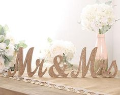 Rose Gold Glitter Mr and Mrs Sign,Mr and Mrs Table Sign,Rose Gold Wedding Decorations, Rose Gold Sign, Rose Gold Centerpieces, Ship from USA