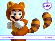 """Mario Game 8.5"""" x 11"""" - 'Pin-the-tail' on Raccoon Mario game. Super Mario Brothers. Personalize Birthday game, any party. Digital download. on Etsy, $5.92"""