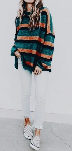 Cute striped sweater with white.