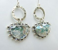 Roman Glass Earrings Set in Solid Silver design Hadas1951