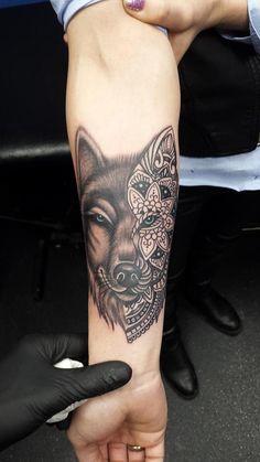 #mandala #wolf #tattoo #colour #balckandwhite #armtattoo #bushmanInk https://www.facebook.com/BushmanInk/