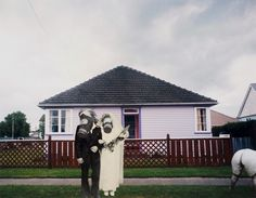"Ava Seymour - ""Gas Mask Wedding"" - Photocollage from ""Health, Happiness and Housing"", 1997, New Zealand"