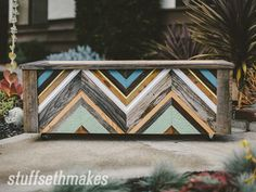 Recycled Wood Chevron Garden Planter Box v2 - see more at www.stuffsethmakes.com/blog