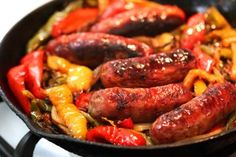 """""""My family has been using this very simple and delicious recipe for sausage, peppers, and onions for years and years now. For an extra kick, try using half sweet sausage and half hot sausage! Roasted Italian Sausage, Hot Sausage, Sweet Italian Sausage, Burger Recipes, Meat Recipes, Sushi Recipes, Baking Recipes, Sausage Peppers And Onions, Stuffed Peppers"""