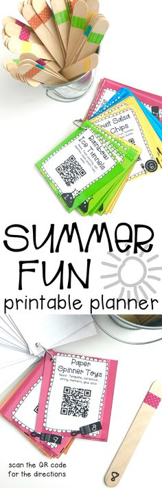 This is so awesome! Summer Fun Printable Planner where you just scan the QR code with your phone to take you to the activity/tutorial. No more scrolling/searching for activities to do with my kids this summer! Summer Activities For Kids, Activities To Do, Monster Activities, Babysitting Activities, Preschool Activities, Summer Schedule, Summer Fun For Kids, Summer Crafts, Kids Crafts