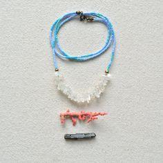 Rock the Rock Necklace Quartz Blues Brass by ISWASANDWILLBE,
