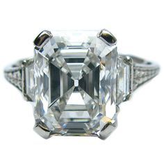 4.12 Carat Emerald Cut Art Deco Diamond Engagement Ring | From a unique collection of vintage engagement rings at https://www.1stdibs.com/jewelry/rings/engagement-rings/