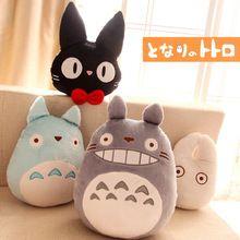 1 шт. японии аниме тоторо подушку подушка мягкая плюшевые игрушки мультфильм белый тоторо черная кошка подушки кошка подушка игрушка(China (Mainland))