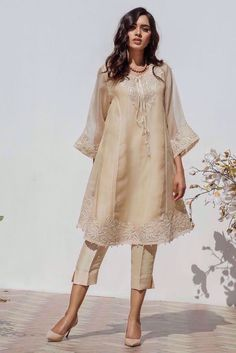 Pakistani Dresses, High Low, White Dress, Tunic Tops, Dresses With Sleeves, Long Sleeve, Women, Fashion, White Dress Outfit