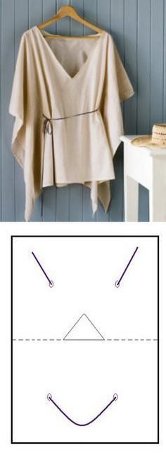 Tied Drape-Top: Use a no-fray fabric, like modal, no-fray chiffon or polar fleece for a winter version, since is a no sew no fusing, and very quick top to make.    Cut a rectangle twice as long as you want your top to be, and elbow to elbow wide.  Then fold to find the center (use chalk to mark it, i used a pointed line in the drawing).   Cut the neck hole on one side of the pointed line (a triangle or half a circle would work fine, you can tweak it later) and put it on. Mark waist...