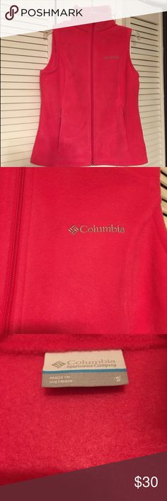 Columbia hot pink fleece zip-up Vest EUC - As the weather changes, be sure to head out the door wearing this comfortable zip up. This vest not only will keep you warm when you need it most, but its classic look is sure to be a favorite for seasons to come. From the trail to the bleachers, this vest is sure to do the trick. This Columbia Women's Fleece Vest is streamlined and fashionable and looks great when worn over long sleeve tees and short sleeve t-shirts.  Columbia Jackets & Coats Vests