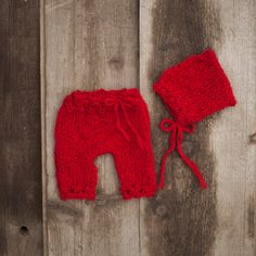 Red Newborn Baby Bonnet and Pants Bonnet and by GabriCollection