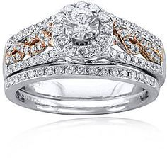 jcpenney FINE JEWELRY Modern Bride 1 CT. T.W. Diamond 14K Two-Tone Gold Infinity Bridal Ring Set on shopstyle.com