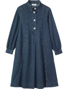 Swingy dress in a soft, washed, indigo-dyed denim. Stand collar, with pleats into back of neck. Four button opening and inverted box… Box Pleated Dress, Denim Maxi Dress, Shirt Dress, Denim Dresses, Pleated Maxi, Maxi Dresses, Linen Dresses, Cotton Dresses, Denim Fashion