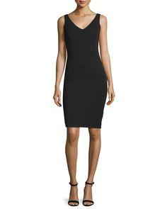 Escada Sleeveless V-Neck Sheath Dress, Black, Women's, Size: 46