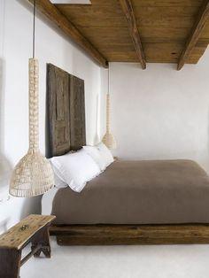 Minimalist modern rustic bedroom white walls dark oak bed base exposed ceiling #modernrusticbedding