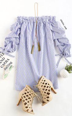 Blue Vertical Striped Tie Sleeve Off The Shoulder Dress
