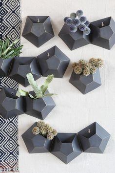 Triple Hexagonal Iron Wall Vase by HOMART on @HauteLook