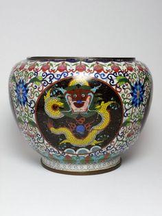 Antique Chinese cloisonne dragon vase