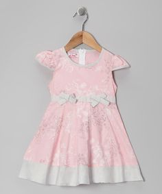 Take a look at this Pink & Grey Floral Bow Dress - Toddler & Girls by Roberto Toscani on #zulily today! $12.99