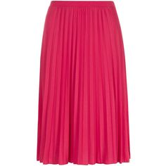 Dorothy Perkins Pink Pleated Midi Skirt (£27) ❤ liked on Polyvore featuring skirts, faldas, bottoms, pink, knee length pleated skirt, pleated skirt, mid length pleated skirt, jersey skirt and pink jersey