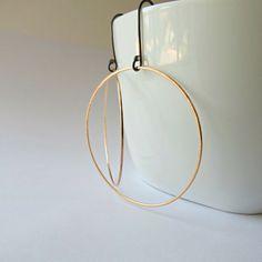 Large gold hoops, gold hoop earrings, gold earrings,  hoop earrings, gold jewelry, 14k gold, modern by BLUEskyBLACKbird on Etsy https://www.etsy.com/listing/212931785/large-gold-hoops-gold-hoop-earrings-gold