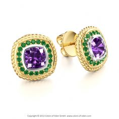 Amethyst Emerald Earrings. If only they were silver