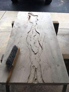 Live Edge Ambrosia Maple Blue Epoxy River Coffee Table image 3