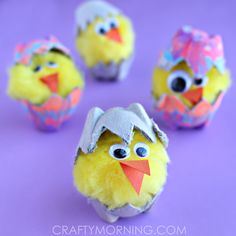 Make adorable egg carton hatching chicks! This is a fun easter and spring craft for kids to make.