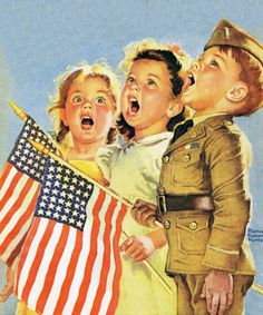vintage art Patriotic Children Singing with Flags by Francis Tipton Hunter