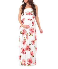 Off-White & Pink Floral Maternity Maxi Dress
