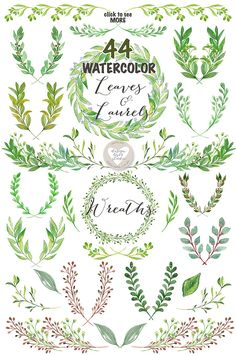 Watercolor Leaves, Laurel and Wreath by designloverstudio on @creativemarket Watercolor Projects, Wreath Watercolor, Watercolor Leaves, Watercolor And Ink, Watercolor Illustration, Watercolor Paintings, Watercolor Wedding, Watercolours, Leaf Clipart