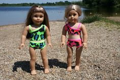 Free pattern and tutorial on how to make both versions of this bikini for your American Girl Doll