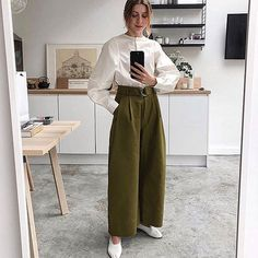 summer work outfits: cotton trousers and a shirt casual work outfits casual work outfits. Casual Work Outfits, Winter Outfits For Work, Office Outfits, Work Casual, Cool Outfits, Summer Outfits, Work Attire, Summer Fashions, Summer Wear