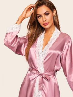 To find out about the Floral Lace Trim Satin Belted Robe at SHEIN, part of our latest Robes ready to shop online today! Pyjama Satin, Satin Sleepwear, Satin Lingerie, Women Lingerie, Satin Dressing Gown, Silk Slip, Satin Blouses, Kimono, Beautiful Lingerie